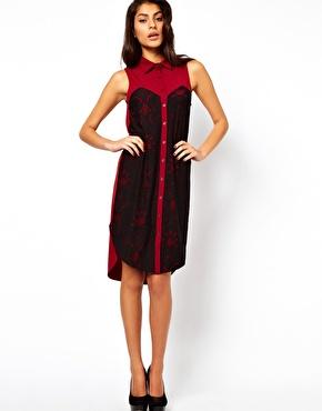 midi dress with lace panels
