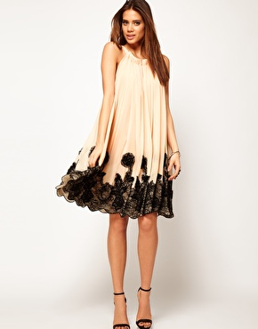 swing dress with lace applique