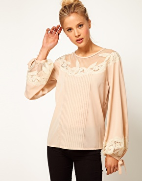 ASOS Blouse With Floral Embroidery And Balloon Sleeve