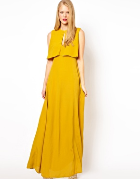ASOS Maxi Dress With 70's Cape Neck Detail