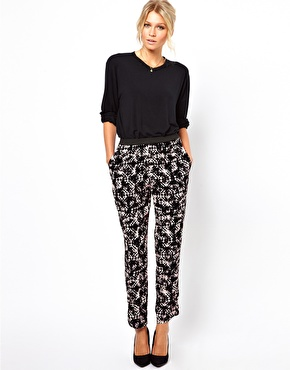 ASOS Trousers with Elastic Waistband in Abstract Print