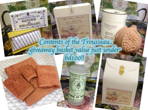 contents of Trousseau giveaway